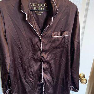 VS silk/satin feel brown pajama set (shirt & pants) with white trim size M